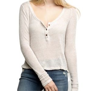 Brandy Melville Knit Henley Pullover Made in Italy